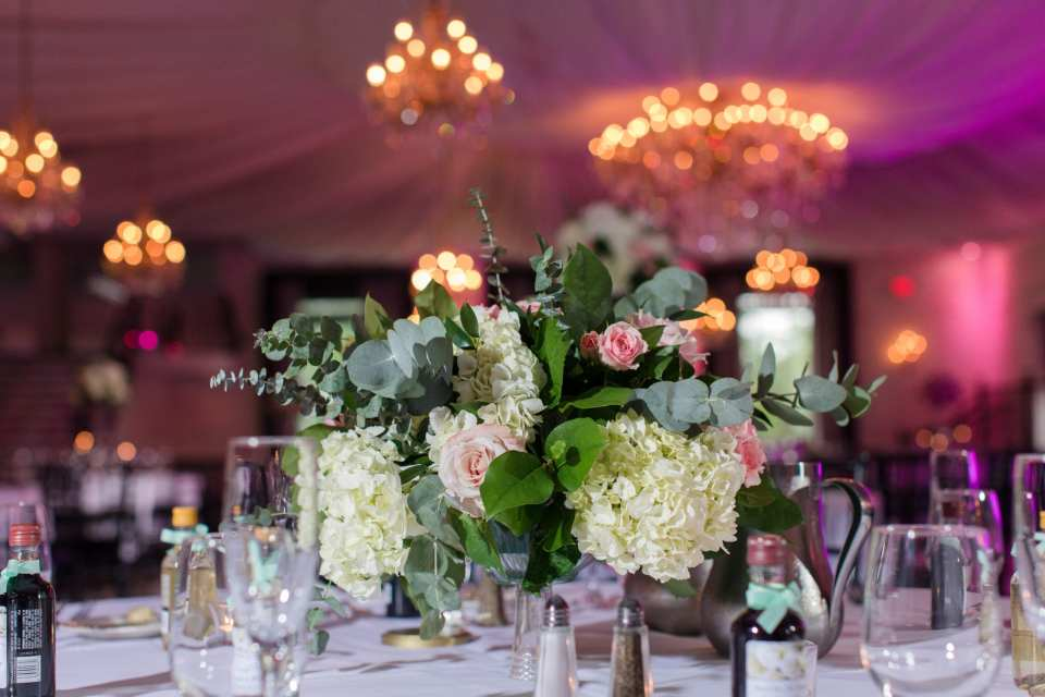 timeless low white hydrangea and pink rose centerpiece, Allure florals, NJ wedding photographer