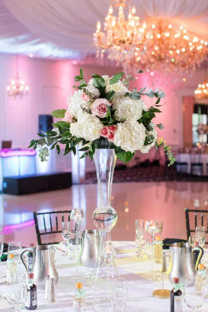 white hydrangea and pink rose tall centerpiece, elegant wedding centerpiece, Allure Florals, Gramercy at Lakeside Manor receptions
