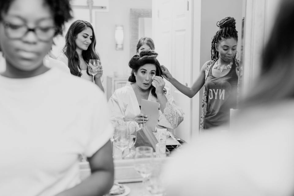 nj wedding photographer, Makeup by Jenielle, The Mane Loft, getting ready black and white photo