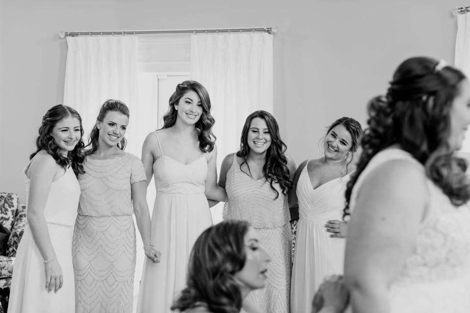 Maggie Sottero Bridal, Bill Levkoff, Bari Jay, Adrianna Papell, Jae Hee Bridal Atelier, The Mane Loft, Bear Brook Valley Weddings, bride getting ready with her girls, black and white bridesmaid photo, New Jersey wedding photographer