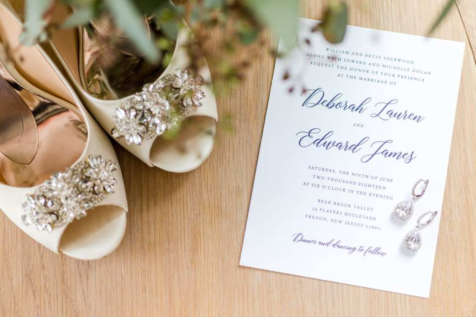 New Jersey wedding photographer, One Two Bre, Badgley Mischka, Navy blue wedding invitation, bridal jewelry photos