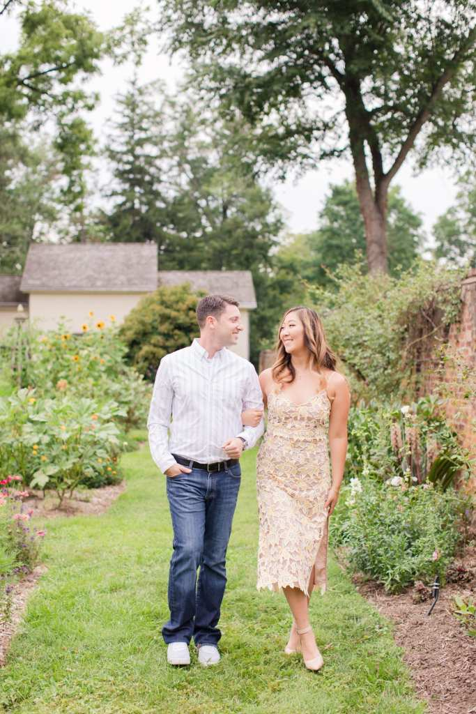 Princeton Garden Engagement Photos, Revolve lace dress and nude heels, jeans and button down for guys