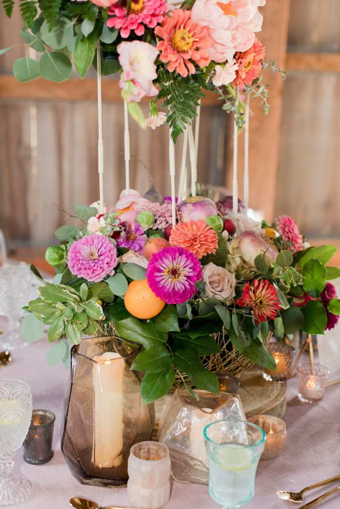 rustic reception table, citrus floral reception centerpiece