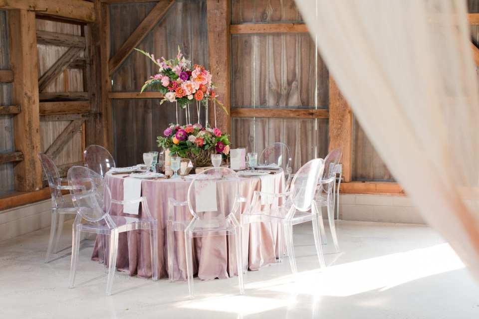 Updike Farmstead wedding, rustic Princeton wedding, NJ wedding photographer, pink rustic reception, ghost chairs
