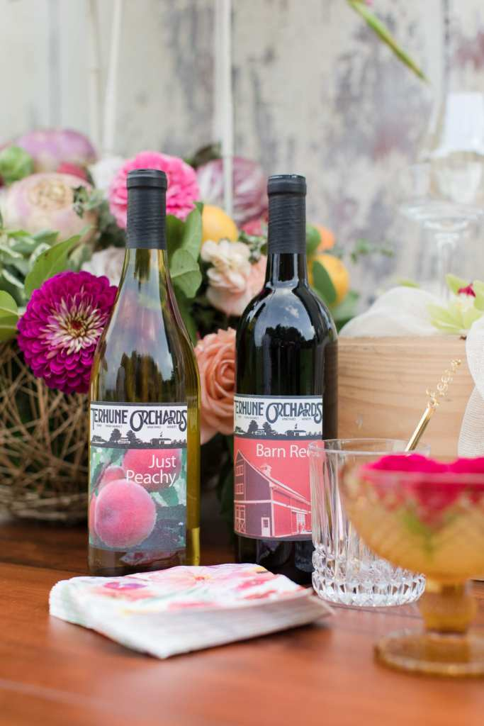 Updike Farmstead wedding, rustic Princeton wedding, Terhune Orchards, Terhune Orchards fruit wine, rustic beverage station, rustic cocktail hour