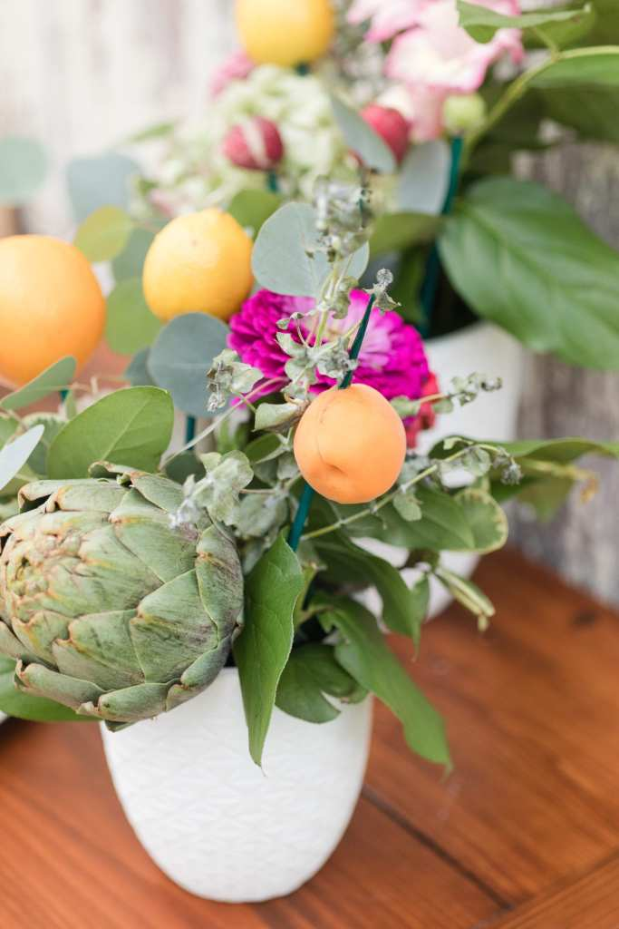 rustic wedding decor, citrus wedding decor, farm to table wedding centerpieces, vegetables and citrus wedding centerpieces