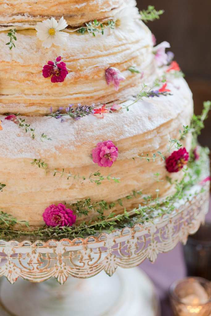 NJ wedding photographer, Crepe wedding cake, Jammin Crepes, rustic wedding cake