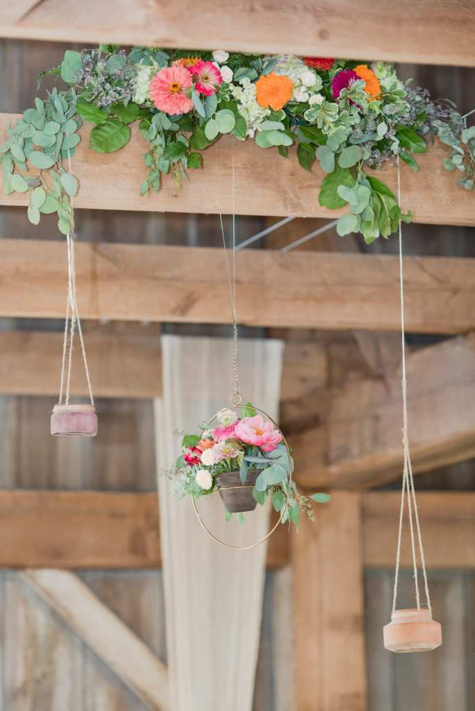 floral and geometric wedding hanging elements, rustic and boho wedding details, anthropologie wedding inspiration