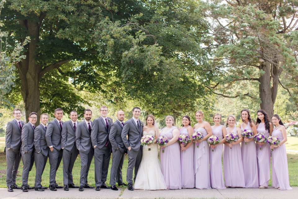 classic large wedding party photo, lavender purple grey plum wedding party, outdoor wedding party photo, New Jersey wedding photographer