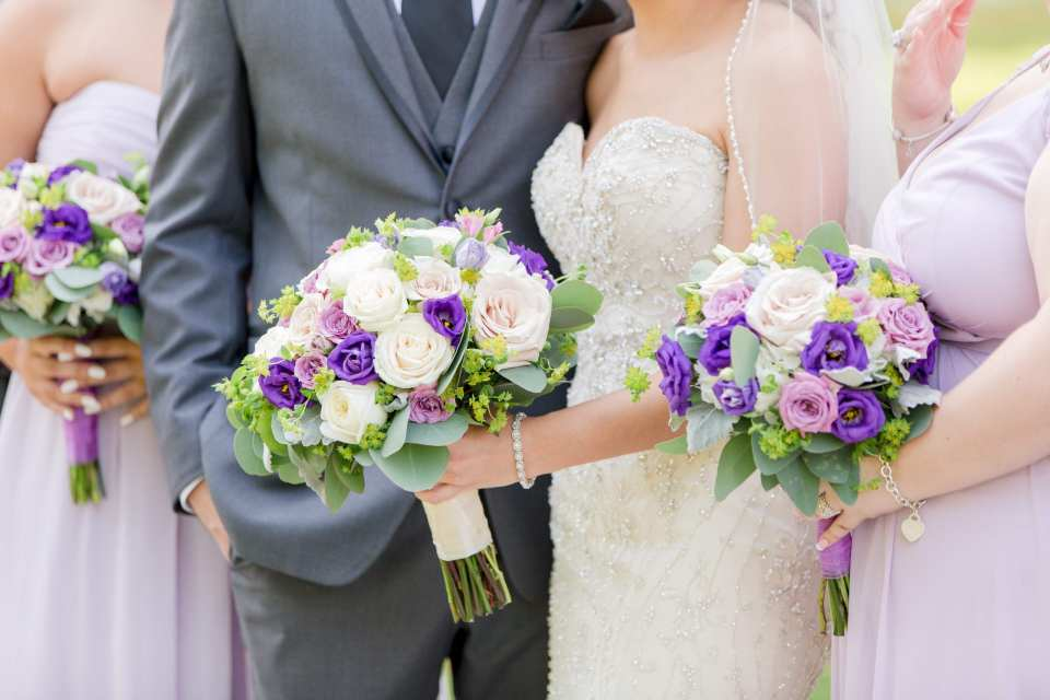 unique bouquet shot, Sayrewoods florals, rose bouquet, purple and white