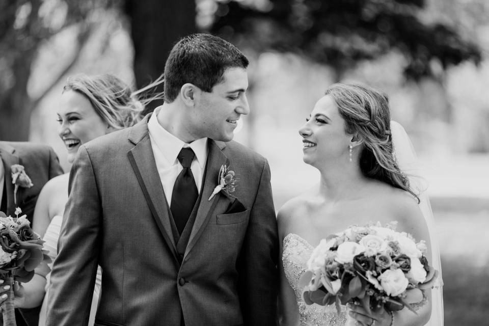 husband and wife black and white photo, loving moment between new couple, NJ wedding photographer