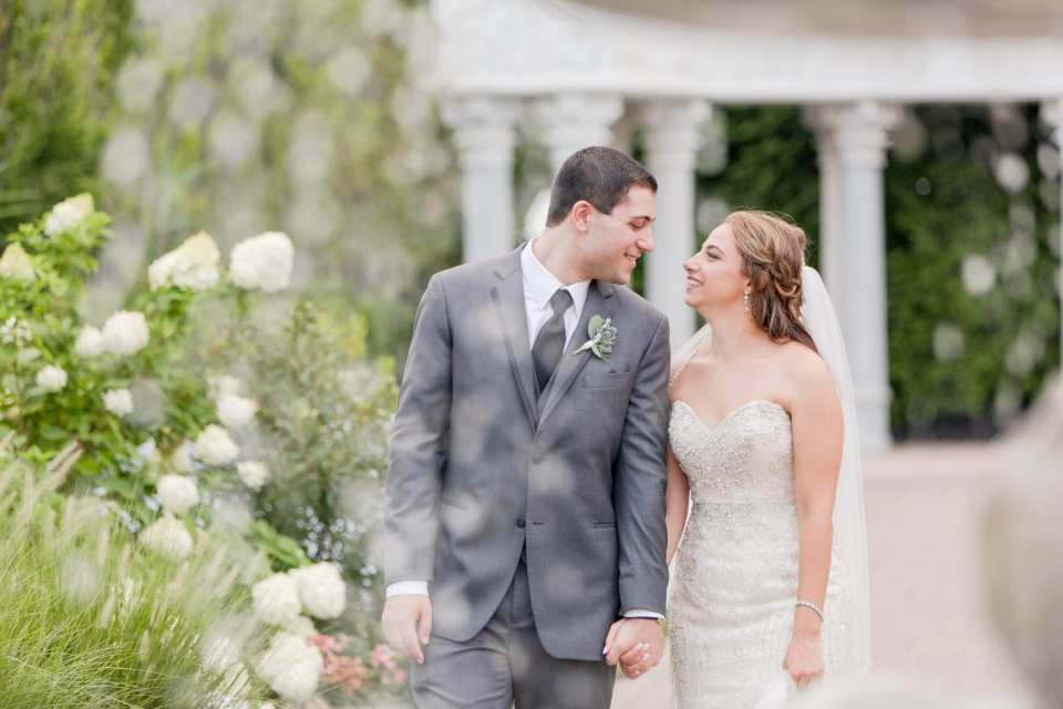 sweet moments between bride and groom in garden, Grand Marquis, Old Bridge New Jersey wedding