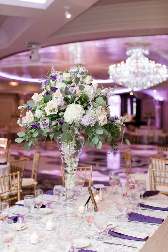 Sayrewoods florals, romantic tall reception centerpiece, Grand Marquis, NJ wedding photographer