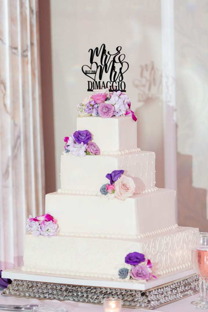 Classic 4-tier square wedding cake with floral, Palermo Bakery, custom cake topper
