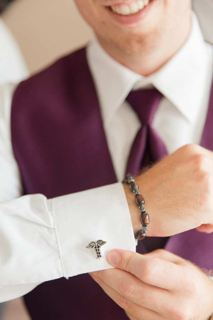 mens plum vest and tie, groomsmen in plum, caduceus cuff links, NJ wedding photographer