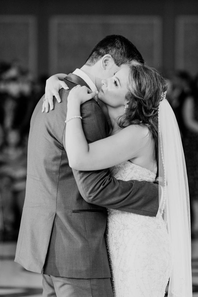 first dance as a couple, black and white photo, NJ wedding photographer