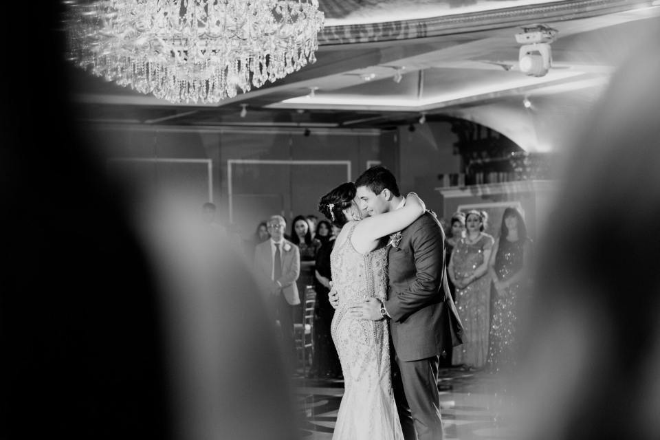 Mother and Son dance, black and white photo, Grand Marquis weddings, NJ wedding photographer
