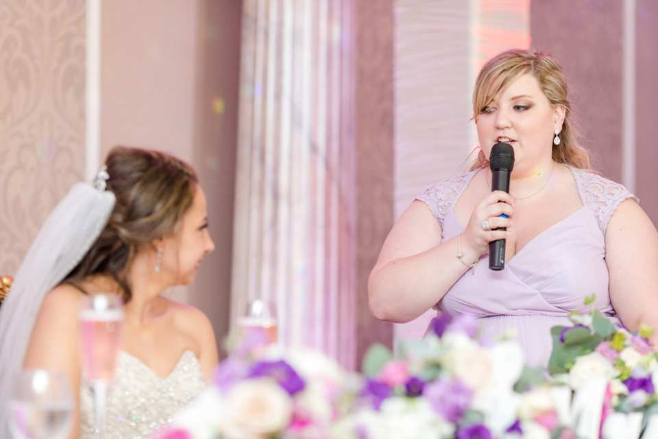 Maid of Honor speech, special wedding reception moments, purple wedding reception