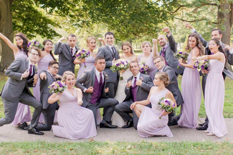 fun wedding party photo, NJ wedding photographer, grey lavender purple wedding party