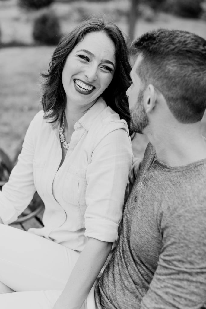 fun couple candid photo, black and white photo, NJ wedding photographer