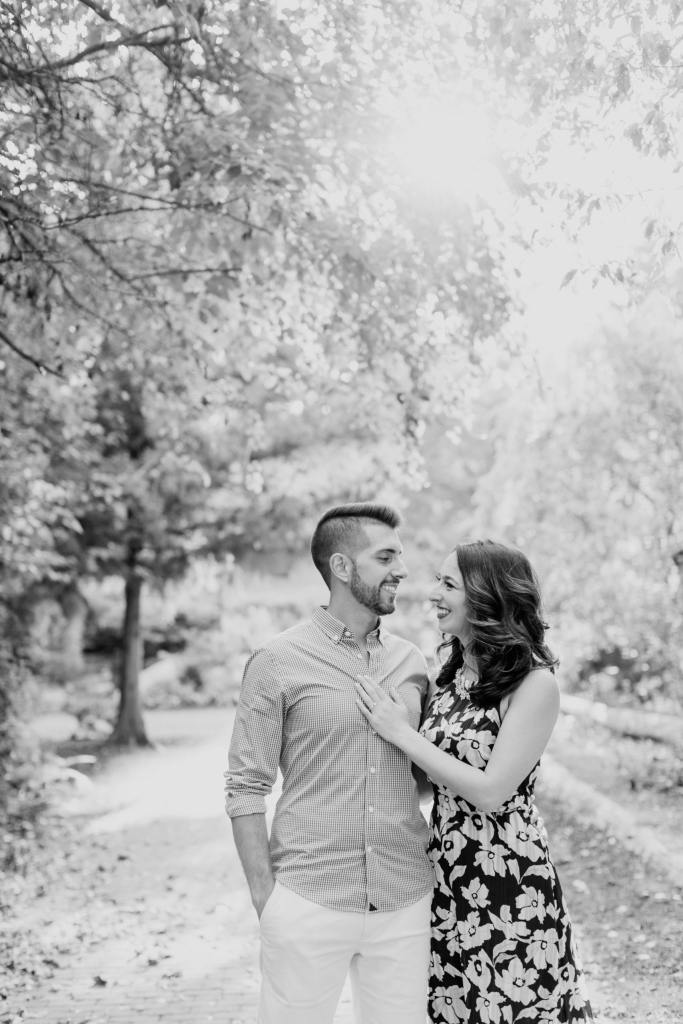 Sayen Gardens engagement photos, black and white photos, NJ wedding photographer