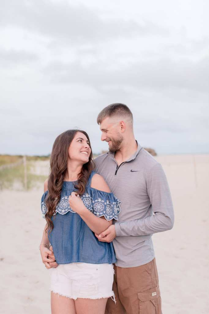 beach engagement session, casual engagement photo, Cape May beach engagement session