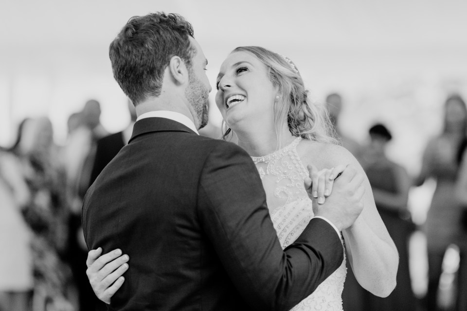 first dance, black and white first dance photo, NJ wedding photographer