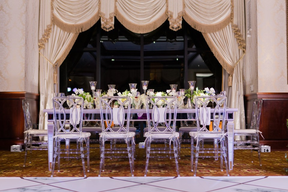 Nassau Inn wedding reception, chic wedding reception, lucite chairs