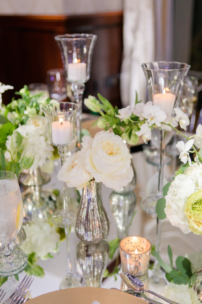 low table centerpiece, classic white wedding reception florals, Magnolia West events,