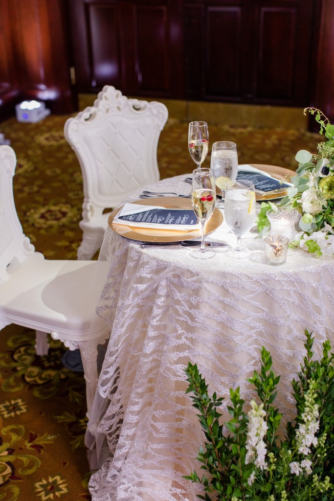 unique sweetheart table, greens sweetheart table, Magnolia West designs, Dahlia's Florals, NJ wedding photographer