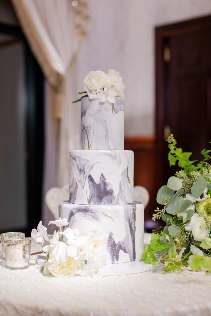 marbled wedding cake, three tier wedding cake, Caketeria, NJ wedding photographer