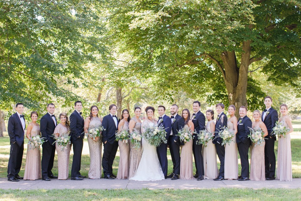 formal wedding party photo, Devine Park, Spring Lake, New Jersey, NJ wedding photographer