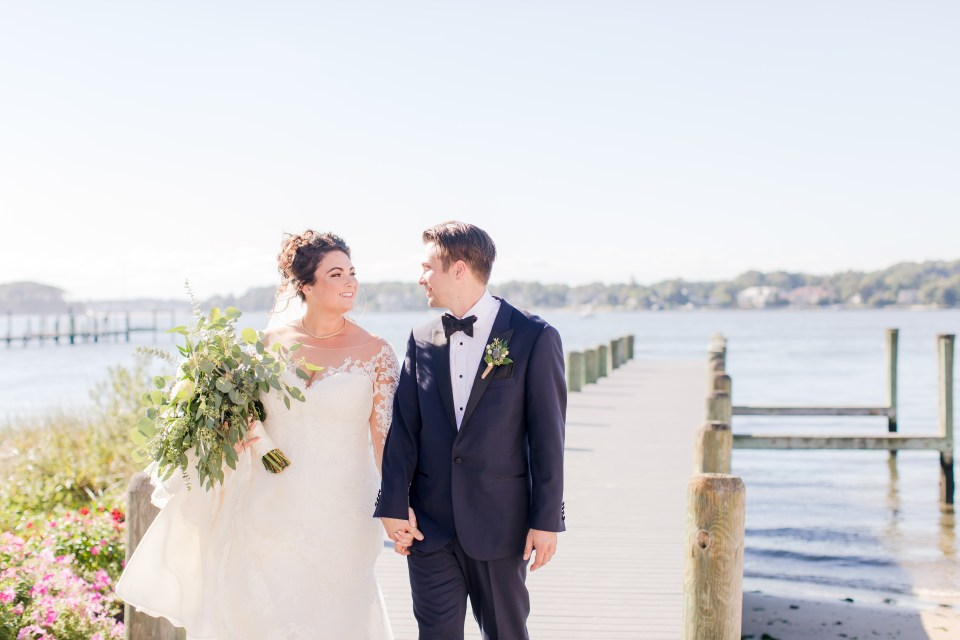 bride and groom outdoor dock photo, Point Pleasant NJ weddings, bride and groom candid photo, NJ wedding photographer