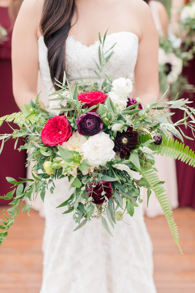 bride bouquet, organic bouquet, Anna Rose Florals, North Jersey weddings, NJ wedding photographer, burgundy blush and red bridal bouquet