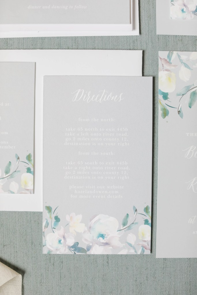 grey direction card from wedding invitation suite, grey white and floral wedding invitation suite, Basic Invite