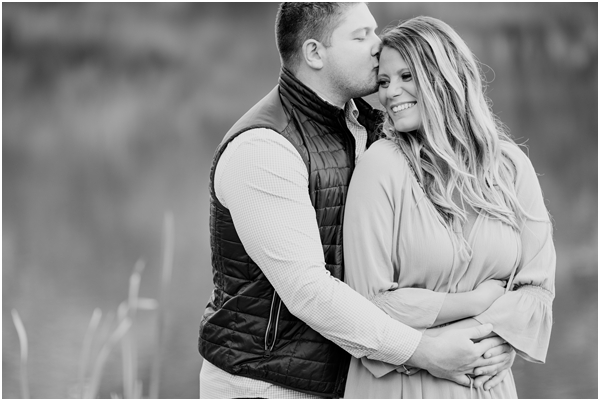 black and white candid engagement photo, NJ wedding photographer