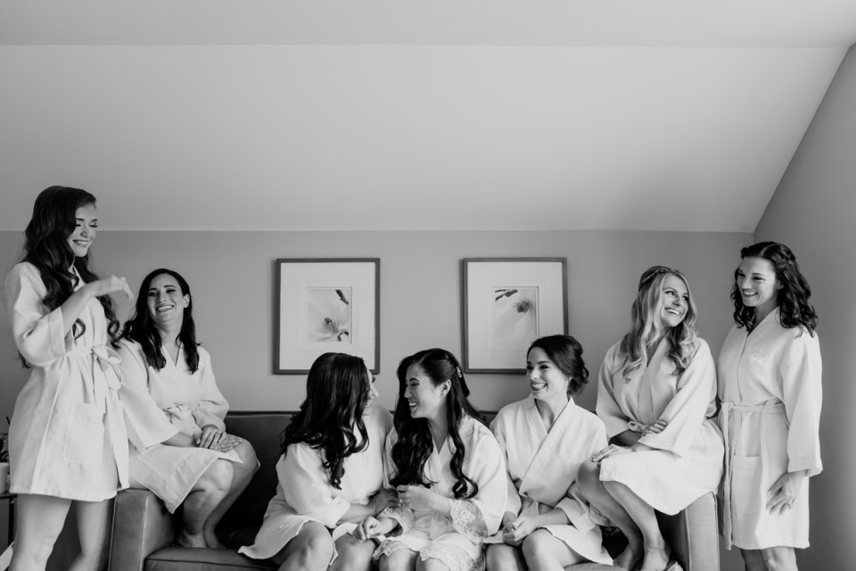 bridal party fun at the Rock Island Lake Club, NJ wedding photographer