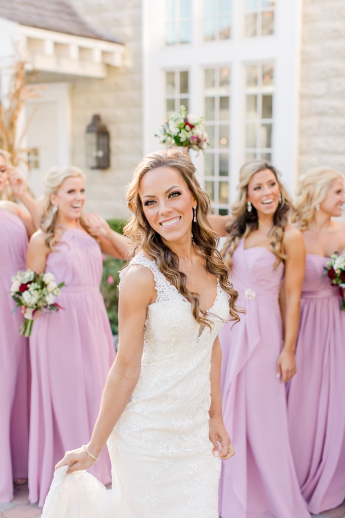 bride and her girls, bridal party candid, NJ wedding photographer