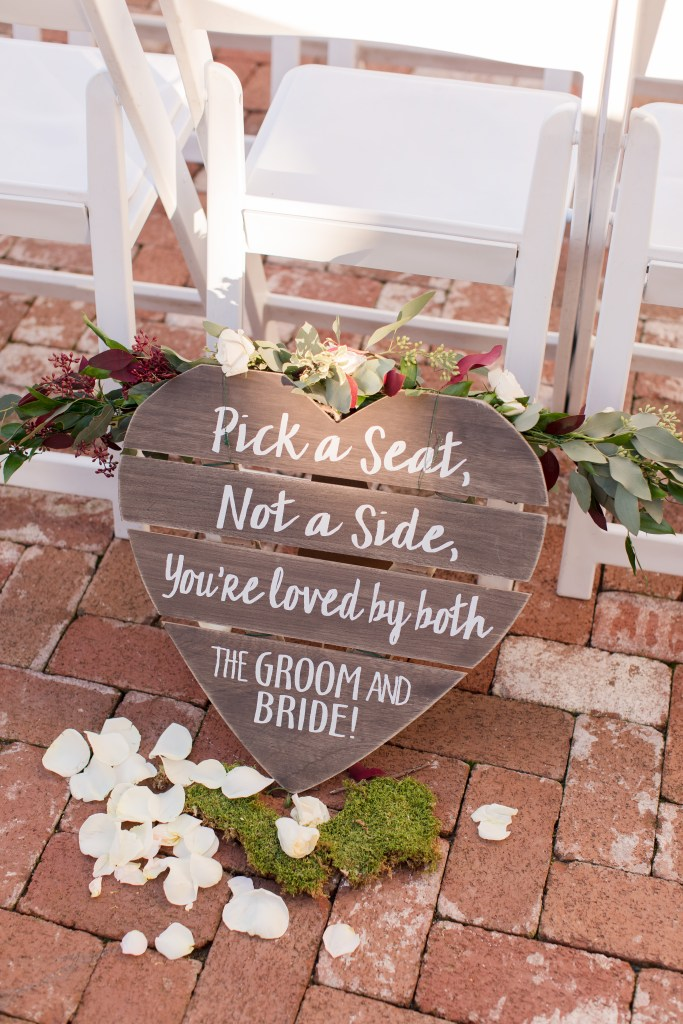 rustic wedding signage, pick a seat not a side sign