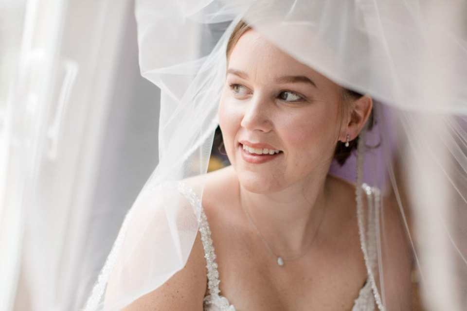 under veil face shot of bride