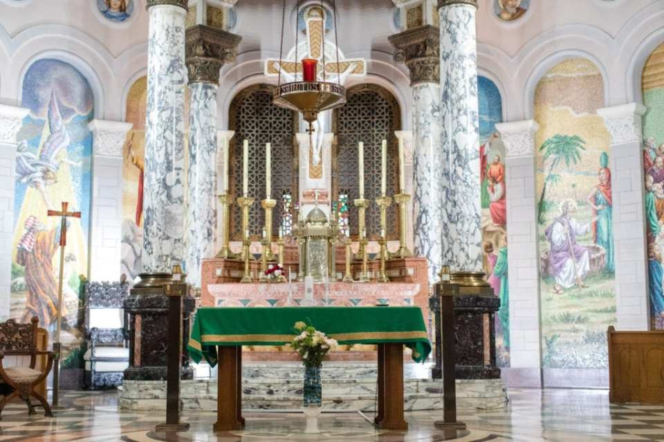 wide shot of church altar