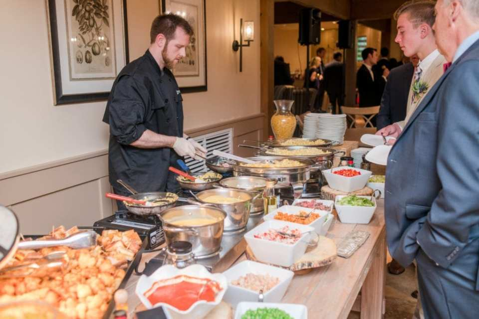 Chef made food during cocktail hour at Bear Brook Valley by New Jersey wedding photographer
