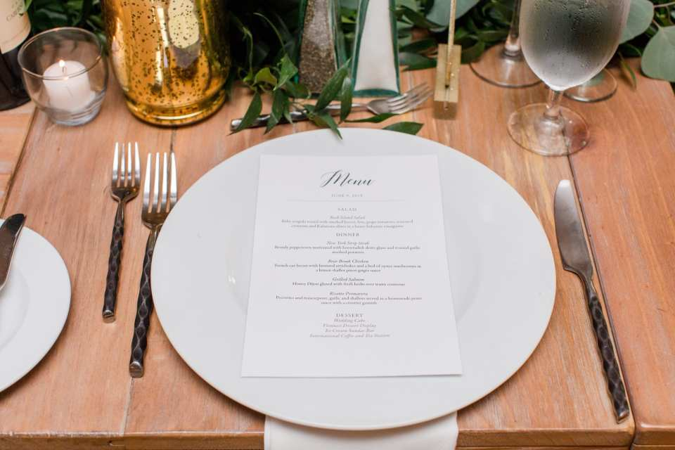 wedding reception dinner menu at Bear Brook Valley