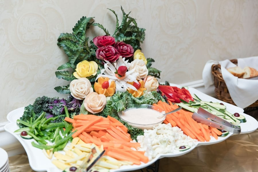 vegetable display during cocktail hour