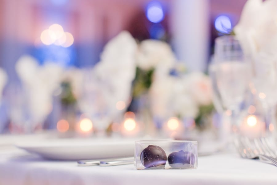 chocolate bonbon favor in focus on table