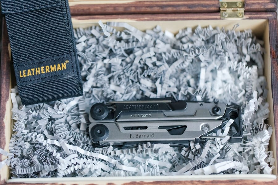 grooms gift of a personalized Leatherman tool