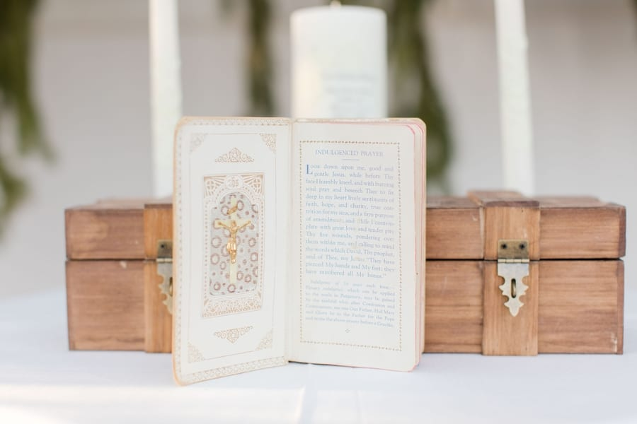 details of ceremony table including prayer book and wine box