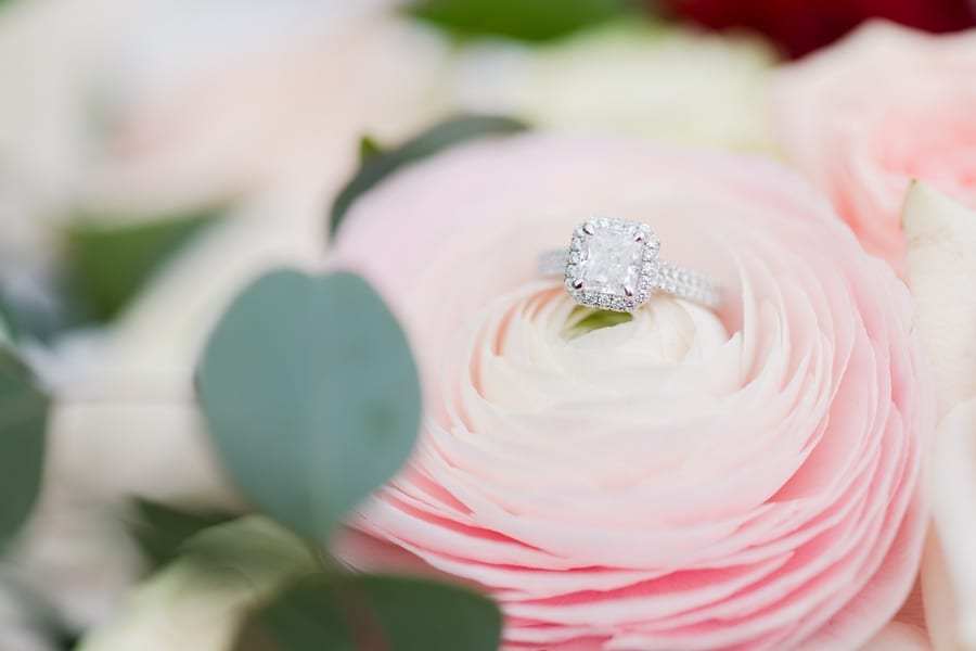 princess cut diamond engagement ring with halo and double diamond eternity band