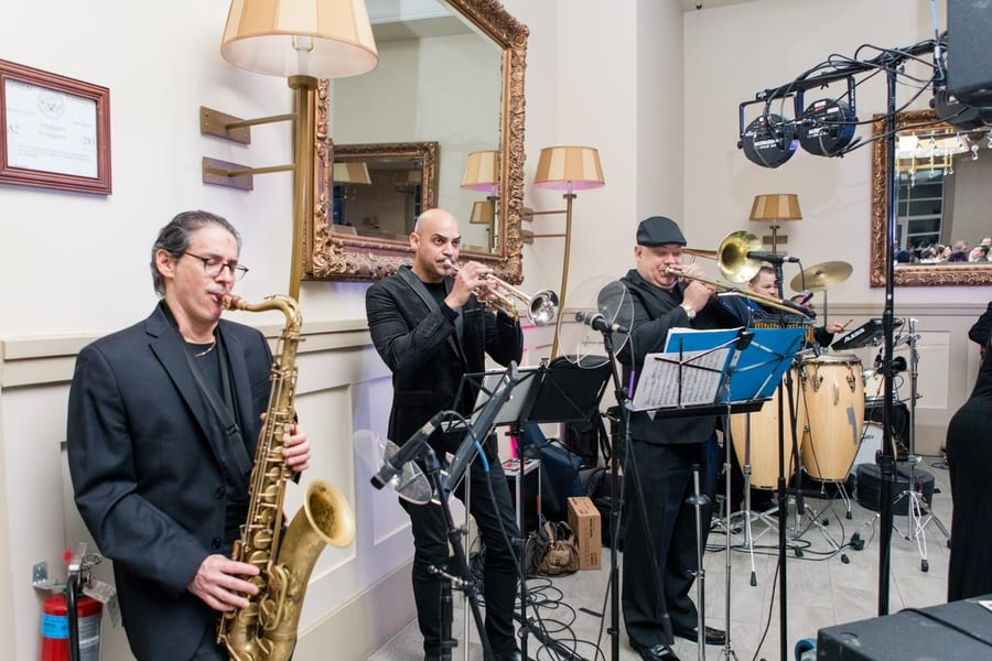 band plays during wedding reception