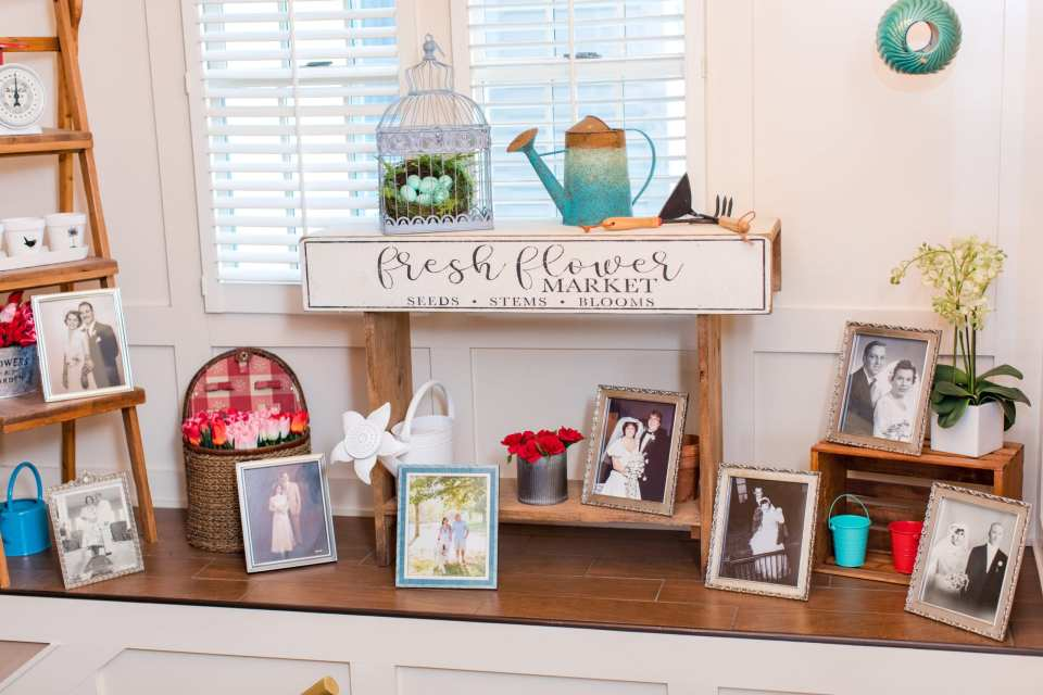 display of family photos set up during cocktail hour